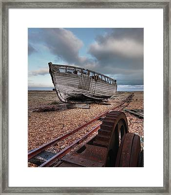 No More Fishing - Abandoned Boat And Rusty Winch Framed Print by Gill Billington