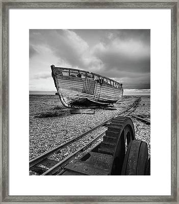 No More Fishing - Abandoned Boat And Rusty Winch B W Framed Print by Gill Billington