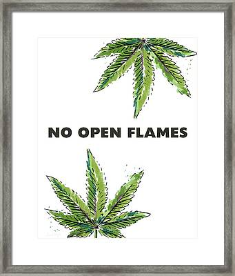 No Open Flames Sign- Art By Linda Woods Framed Print by Linda Woods