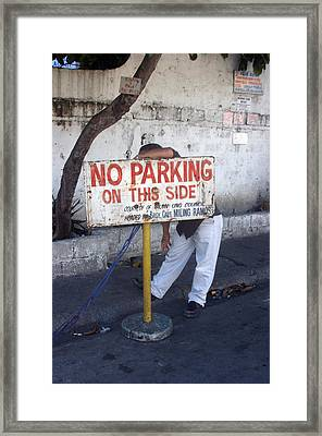 No Parking This Side 2 Framed Print by Jez C Self