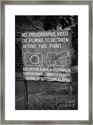 no photography warning sign for restricted area of the UN buffer zone in the green line nicosia Framed Print