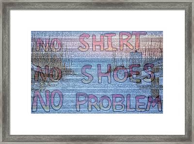 No Shirt No Shoes No Problem Panama City Beach Framed Print by JC Findley