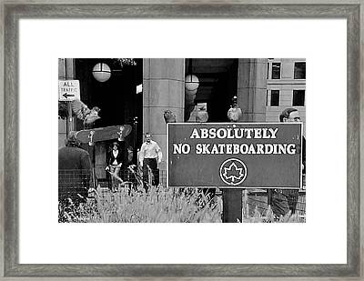 No Skateboarding Framed Print by Brian Wallace