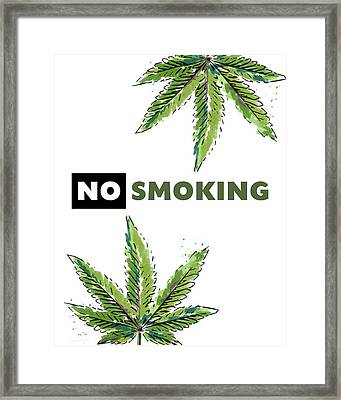 Framed Print featuring the mixed media No Smoking - Art By Linda Woods by Linda Woods