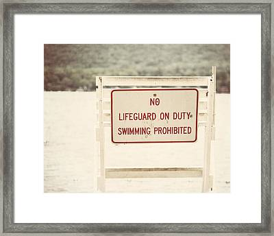No Swimming Framed Print by Lisa Russo