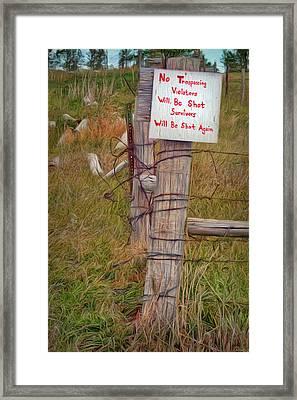 No Trespassing Framed Print by Nikolyn McDonald