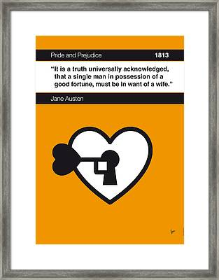 No002 My Pride And Prejudice Book Icon Poster Framed Print by Chungkong Art