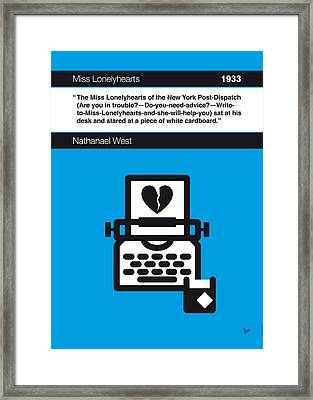 No011-my-miss Lonelyhearts-book-icon-poster Framed Print by Chungkong Art