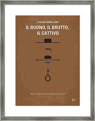 No042 My Il Buono Il Brutto Il Cattivo Minimal Movie Poster Framed Print by Chungkong Art