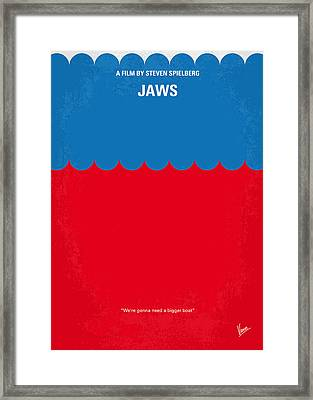 No046 My Jaws Minimal Movie Poster Framed Print by Chungkong Art