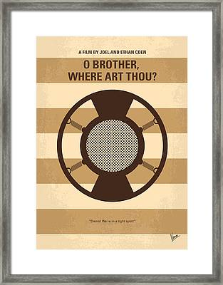 No055 My O Brother Where Art Thou Minimal Movie Poster Framed Print