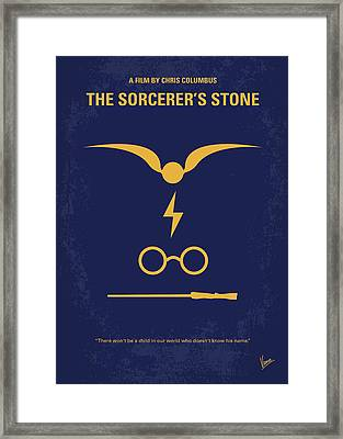 No101-1 My Hp - Sorcerers Stone Minimal Movie Poster Framed Print by Chungkong Art