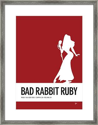 No14 My Minimal Color Code Poster Jessica Rabbit Framed Print by Chungkong Art