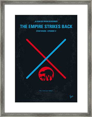 No155 My Star Wars Episode V The Empire Strikes Back Minimal Movie Poster Framed Print