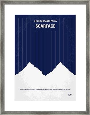 No158 My Scarface Minimal Movie Poster Framed Print by Chungkong Art