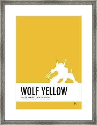 No21 My Minimal Color Code Poster Wolverine Framed Print by Chungkong Art