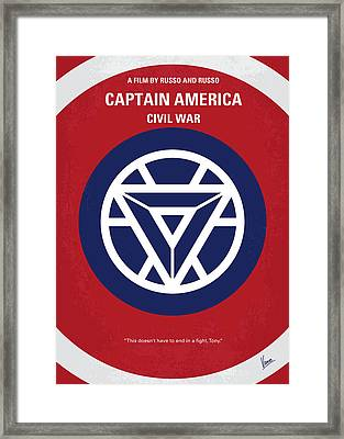 No329 My Captain America - 3 Minimal Movie Poster Framed Print by Chungkong Art