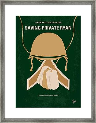 No520 My Saving Private Ryan Minimal Movie Poster Framed Print by Chungkong Art
