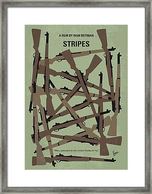 No542 My Stripes Minimal Movie Poster Framed Print