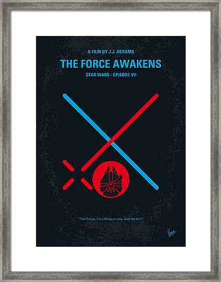 No591 My Star Wars Episode Vii The Force Awakens Minimal Movie Poster Framed Print