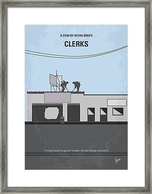 No715 My Clerks Minimal Movie Poster Framed Print