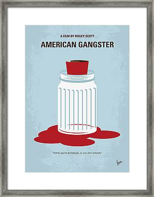 Framed Print featuring the digital art No748 My American Gangster Minimal Movie Poster by Chungkong Art