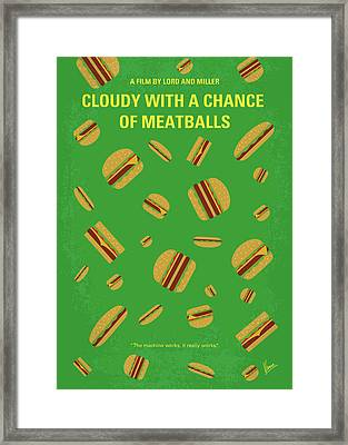 No778 My Cloudy With A Chance Of Meatballs Minimal Movie Poster Framed Print
