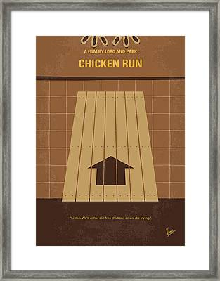 No789 My Chicken Run Minimal Movie Poster Framed Print