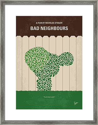 No840 My Bad Neighbours Minimal Movie Poster Framed Print