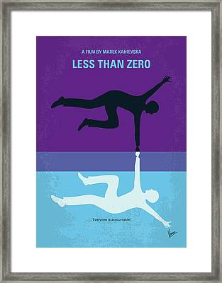 No848 My Less Than Zero Minimal Movie Poster Framed Print