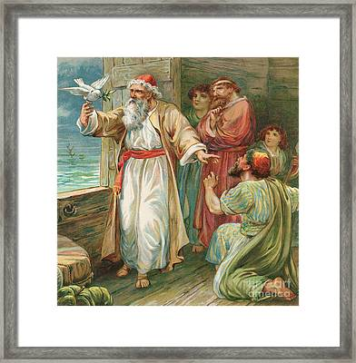 Noah And The Dove  Framed Print