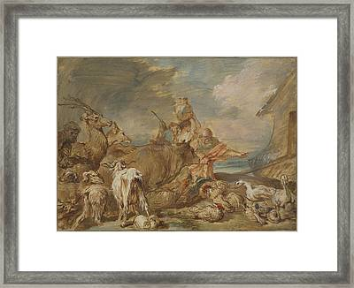 Noah Leading The Animals Into The Ark Framed Print