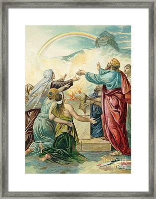 Noah's Sacrifice Framed Print by German School