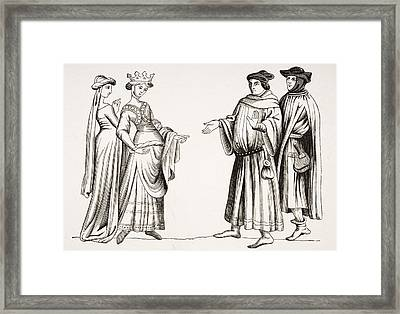 Noble Lady And Maid Of Honour And Two Framed Print by Vintage Design Pics