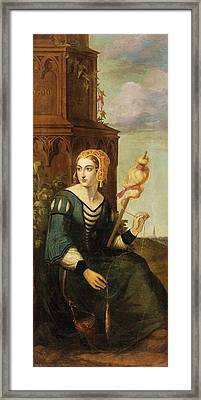 noble lady with distaff before Gothic tower Framed Print by MotionAge Designs