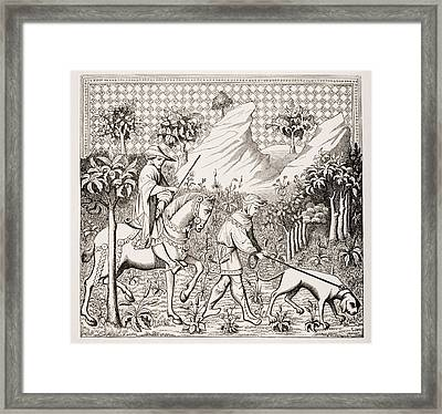 Nobleman In Hunting Costume With His Framed Print by Vintage Design Pics