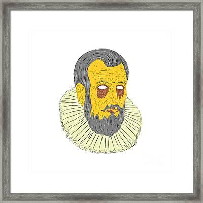 Nobleman Wearing Ruff Collar Grime Art Framed Print