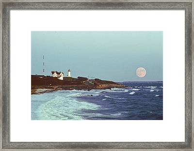 Nobska Point And Moon Framed Print