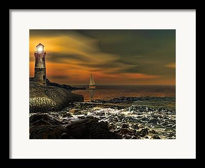 Sailing At Night Framed Prints