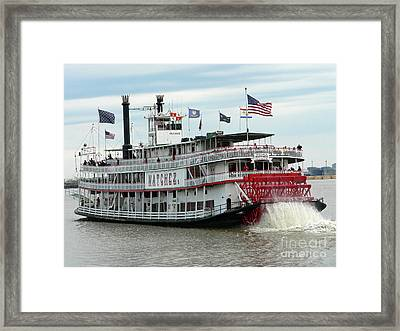 Nola Natchez Riverboat Framed Print by Joy Tudor