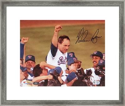 Nolan Ryan Texas Rangers Famed No Hitter Framed Print by Donna Wilson