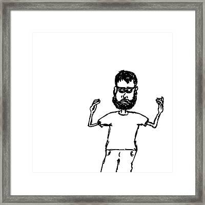 Noodle Arm Man Framed Print by Karl Addison