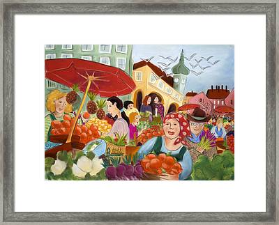 Noon At The Market Framed Print by Tatjana Krizmanic
