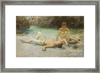 Noonday Heat Framed Print by Henry Scott Tuke