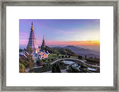 Noppamethanedol And Noppapol Phumsiri Pagoda And Picturesque Sunset Sky. Doi Inthanon, Thailand Framed Print