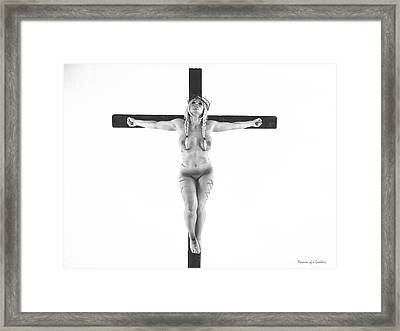 Nordic White Crucifix Framed Print