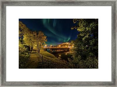 Nordlys Or Northern Light Over Trondheim Framed Print