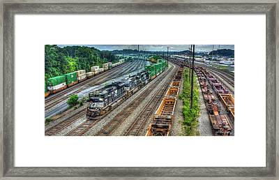 Framed Print featuring the photograph Norfolk Southern Locomotive #2665 Atlanta Inman Intermodal Yard Art by Reid Callaway