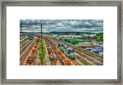 Framed Print featuring the photograph Norfolk Southern Locomotive 654 Atlanta Inman Yard Intermodal Train Art by Reid Callaway