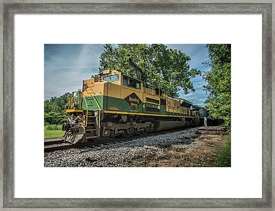 Norfolk Southern Ns 1067 At White River Bridge Petersburg In Framed Print by Jim Pearson